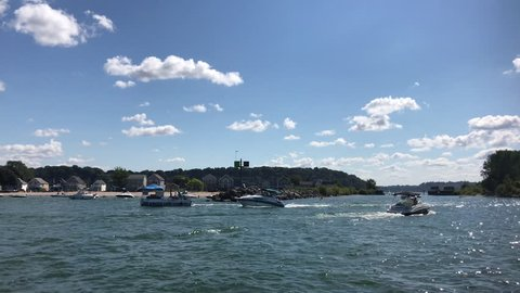 ROCHESTER, NY - SEPTEMBER 16: Boats on sunny day at Lake Ontario of Rochester, New York on September 16, 2018.