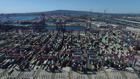 Aerial of Port Containers Shipping Terminal Yard Long Beach California USA 04.MOV