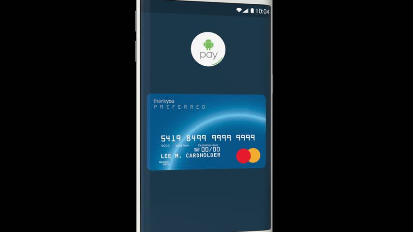 Moscone Center, San Francisco, United States - CIRCA MAY, 2015: Android Pay payment process with a smartphone. Android Pay is a digital wallet service introduced by Google Inc. (With Alpha Channel) | Shutterstock HD Video #10258964