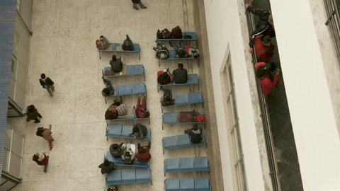 Kathmandu, Nepal - 11 27 2018: Waiting room at hospital in Kathmandu