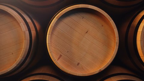 Wine or Whiskey in vaults. Barrel in the basement. Wine, beer, Whiskey barrels stacked at the warehouse. Looped animation. 3D animation