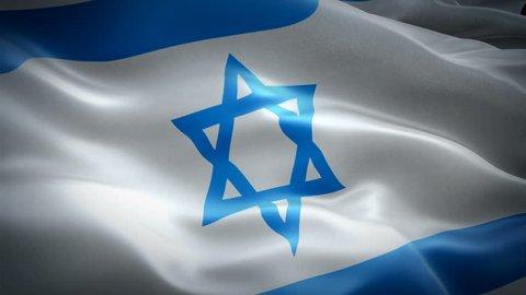 Israel waving flag. National 3d Jewish flag waving. Sign of Israel seamless loop animation. Jewish flag HD resolution Background. Israel flag Closeup 1080p Full HD video presentation