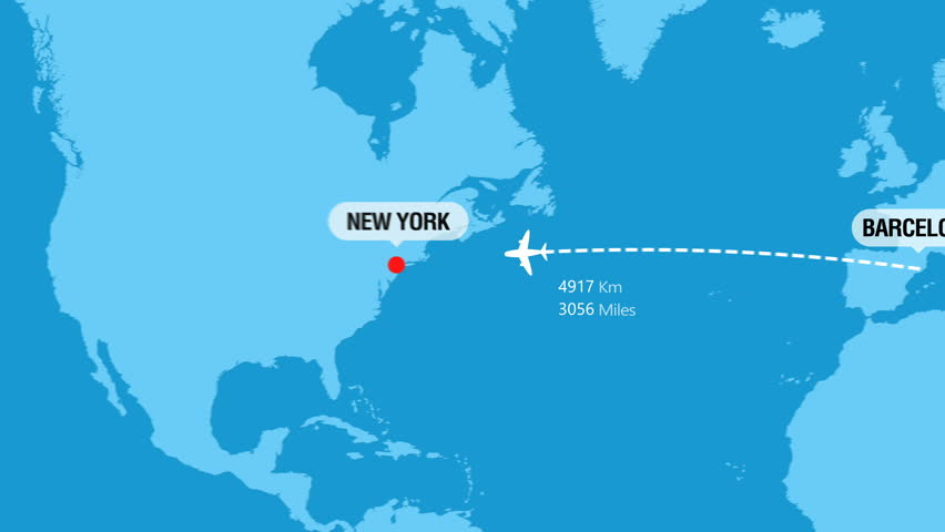 Barcelona to New York Flight Travel Route