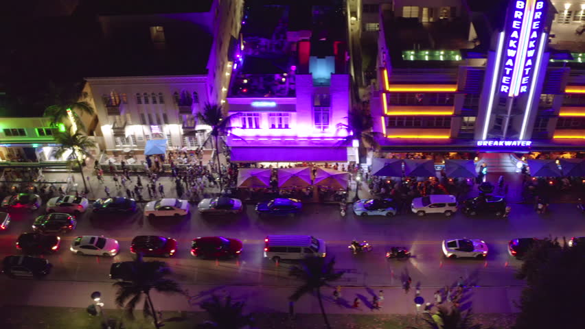 MIAMI - CIRCA MARCH 2019: Ocean Drive night aerial dolly