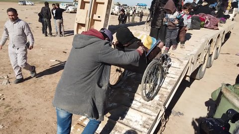 Syria - March 15, 2019: Families fleeing ISIS in the desert 7