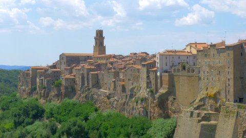 Panorama of the medieval town of Pitigliano located on the edge of the cliff, Tuscany. Italy. Europe. 4K UHD video