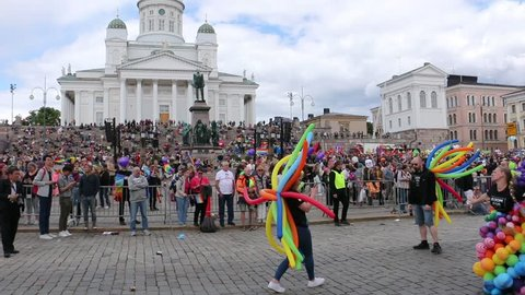 Helsinki, Finland - June 30, 2018: Helsinki Pride 2018 crowd with flags