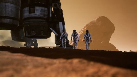 Astronauts walk on the surface of Mars after landing in a rocket. Panoramic landscape on the surface of Mars. Realistic cinematic animation.