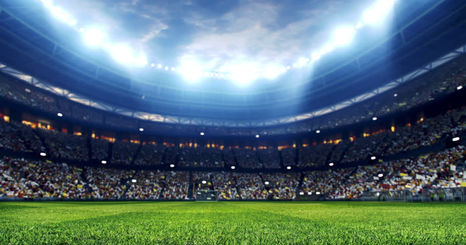 4k resolution footage of a dramatic soccer stadium. The stadium was made in 3d without using existing references. The crowd and light on the stadium are animated. | Shutterstock HD Video #1026060194