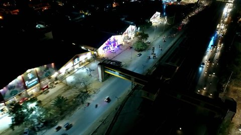 Beautiful aerial view of traffic at night at Nazimabad, Karachi - Drone Footage Karachi City