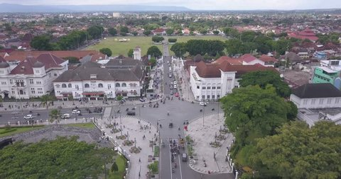 Yogyakarta - Indonesia. March 16, 2019:  zero kilometer Yogyakarta which was recorded using a drone