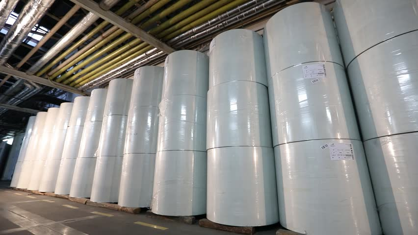 Flizelin in the warehouse of the factory, Rolls of non-woven paper are in a row in the warehouse. Rolls of non-liner paper in stock | Shutterstock HD Video #1026143264