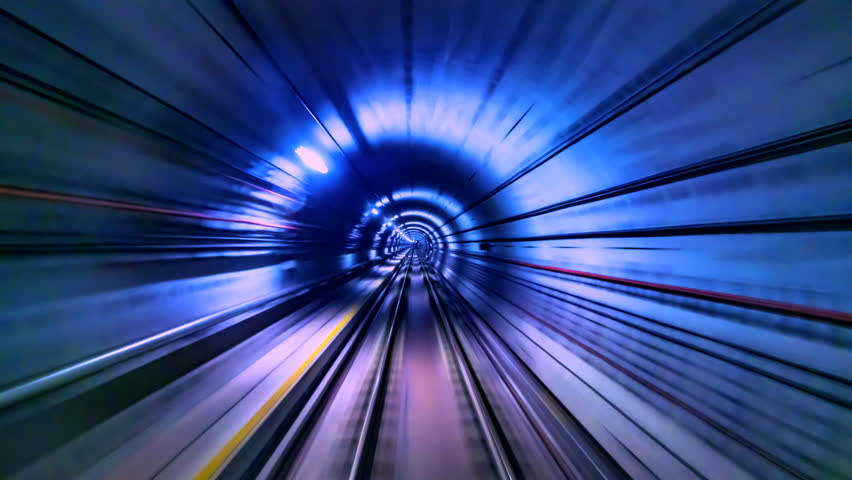 4K.Time lapse automatic train subway tunnel fast speed | Shutterstock HD Video #1026144254