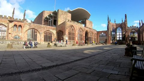 Coventry, West Midlands, UK - March 5, 2019: Time lapse with a wide angle view of the World War 2 bombed ruins of Coventry Cathedral