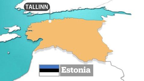 Estonia map and flag
