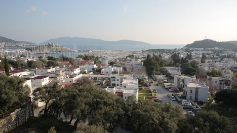 Aerial view of 'Bodrum' holiday village and Sea coast/Mugla,TURKEY