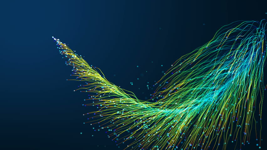 Abstract background with animation glowing particles moving of lines for fiber optic network cables spread out across the frame.  | Shutterstock HD Video #1026334664