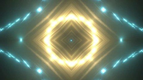 VJ Fractal gold kaleidoscopic background. Background motion with fractal design. Disco spectrum lights concert spot bulb. More sets footage in my portfolio.
