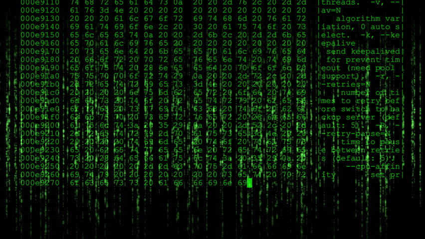 Matrix style background effect with a crypto miner hex dump overlay - Green.   Shutterstock HD Video #1026357554