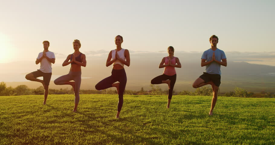 Yoga class at sunset, happy diverse group of young people practicing yoga tree pose together, stretching health and wellness | Shutterstock HD Video #1026372254