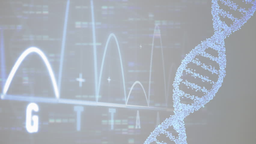 Digital composition of a DNA molecule rotating and data charts scrolling on a black screen with a female doctor smiling to the camera on the foreground #1026473594