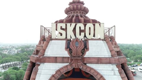 ISKCON Temple, Delhi, India, July 29th 2018: The International Society for Krishna Consciousness, known colloquially as the Hare Krishna movement, ISKCON was founded in 1966 in New York City.