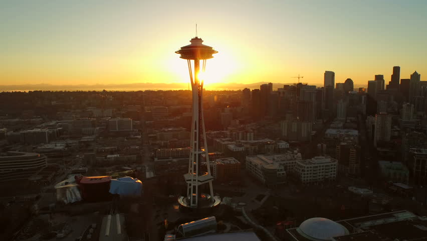 Seattle Aerial v46 Flying low over Lower Queen Anne area besides and around Space Needle with cityscape views at sunrise. 3/15