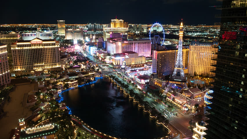 LAS VEGAS - JAN 2019 - Undaunted by cold and wind the Las Vegas tourism industry continues to flourish  | Shutterstock HD Video #1026523754