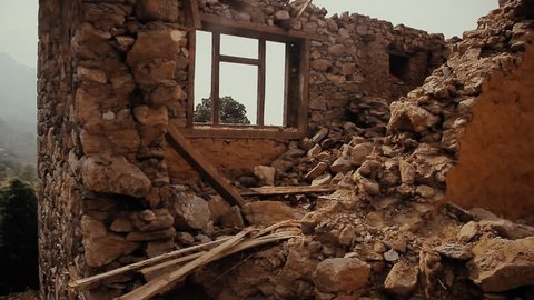 Ruined brick house. The consequences of an earthquake in Nepal. Ruin