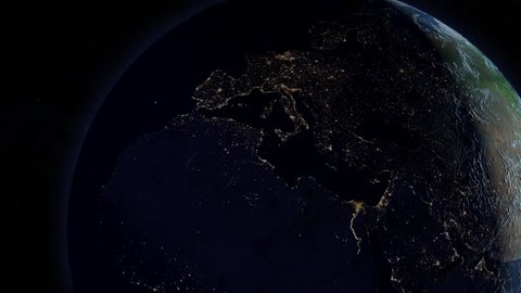 Power is returned after a continental power outage as seen from space. European version.