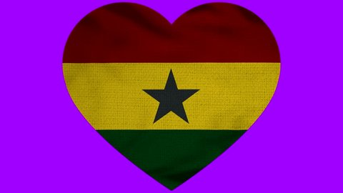 Ghana Heart Flag Loop - Realistic 3D Illustration 4K - 60 fps flag of the Ghana - waving in the wind. Seamless loop with highly detailed fabric texture. Loop ready in 4k resolution