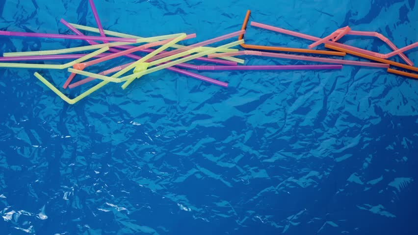 Plastic in the ocean. Animation with drinking straws and fish under water. Stop motion animation   Shutterstock HD Video #1026570284