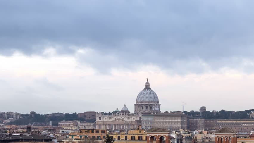 Glitch effect. The dome of St. Peter's Basilica. Zoom. Rome, Italy.   Shutterstock HD Video #1026606584
