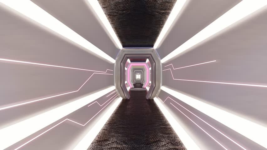 Futuristic Corridor ./Walkway in Spacecraft.-3d rendering.  | Shutterstock HD Video #1026655724