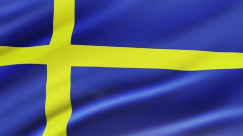 Sweden flag waving in wind video footage  Realistic Sweden Flag background. Sweden Flag Looping Closeup