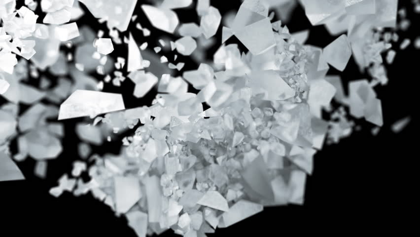 Ice cube explosion in slow motion cg 3d animation on black isolated background   Shutterstock HD Video #1026744704