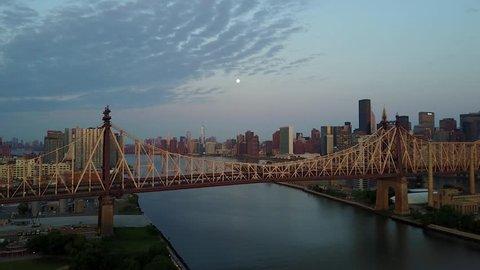 NYC ED KOCH QUEENSBOROUGH BRIDGE. Waterfont shot into Manhattan from Queens New York.