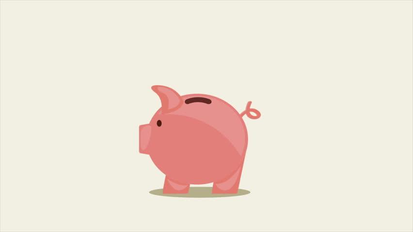 Piggy bank, Video animation, HD 1080