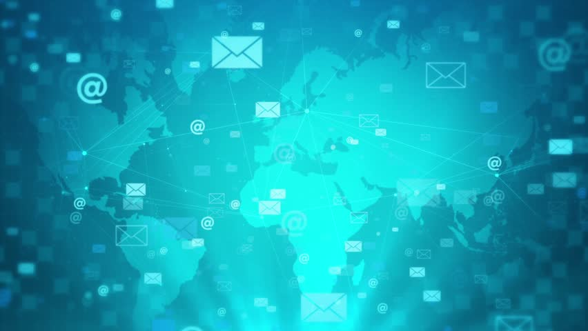 Mail business technology concept.Corporate blue background | Shutterstock HD Video #1026827894