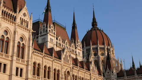 Hungarian Parliament Building with Flag of Hungary, Budapest