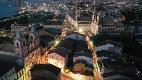 Aerial view of cityscape of Salvador at evening, historic center (Pelourinho) of capital city of state Bahia - landscape panorama of Brazil from above, South America