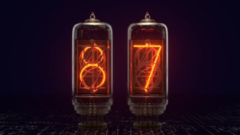 3D Rendering Realistic Nixie Tubes Slow Zoom in, Rapid Countdown from 99 to 00