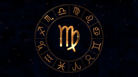 Golden zodiac horoscope loop spinnig wheel with virgo (maiden) sign in  center on sky background with sparkling stars  virgo sign appears from  golden particles, then disappear  loop animation