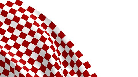 Red Checkered Flag Waving - 3D Animation.