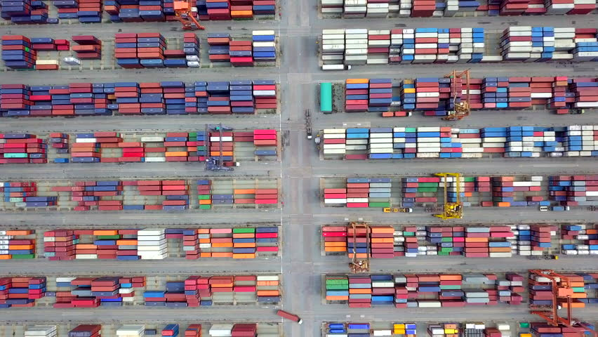 Strait of Malacca Aerial view port container terminal container ship in import export and business logistic at Deep water port  Busan Korea | Shutterstock HD Video #1026928754