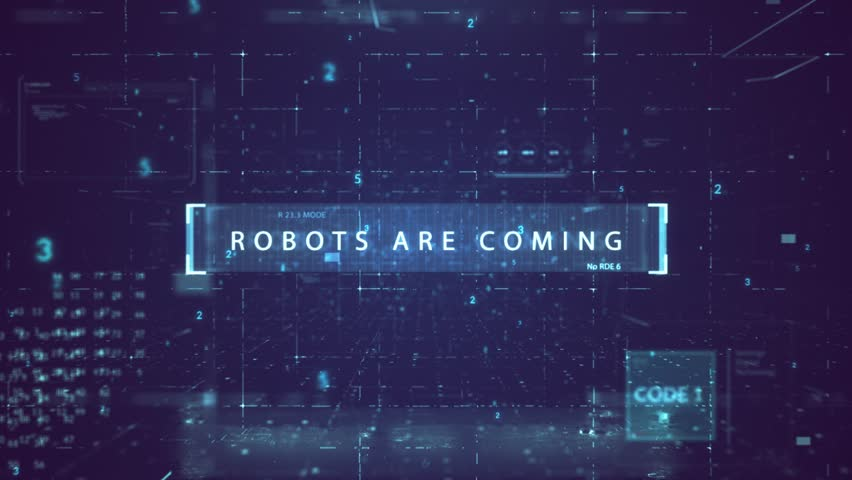 "The animated inscription ""ROBOTS ARE COMING"" typing writing on digital dark violate background. Futuristic information technology concept. Digitalization of Information Flow Moving Through IT 