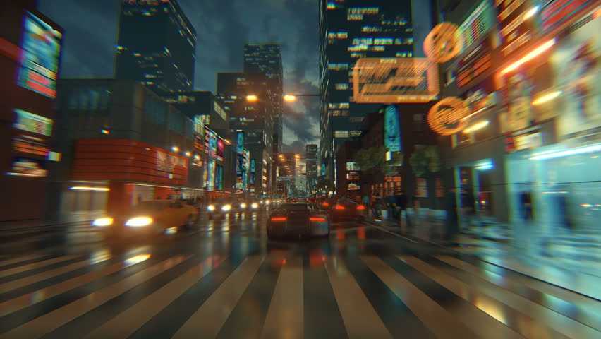 3d fake Video Game. Racing simulation. night city. lights after rain. part 1 of 2. | Shutterstock HD Video #1026988454