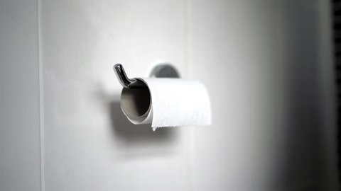 Last Piece Of Toilet Roll Empty Chrome Holder Brown Cardboard White Tiled Background
