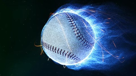 Baseball Flying in Flames 4K Loop features a baseball flying through a space like atmosphere with blue particle flames emanating from it as it revolves in a loop