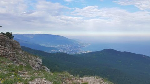 Glitch effect. Panorama of Yalta coast from Mount Ai-Petri. Crimea